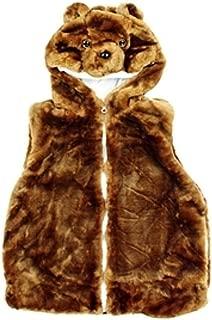 Girls Plush Faux Fur Animal Vest Penguin Size Medium 8-12 Years Black