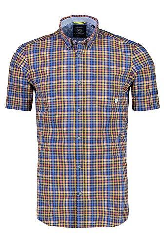 LERROS Herren B.D.Seersucker Check Freizeithemd, Orange (Strong ORANGE 925), XXX-Large (Herstellergröße:XXXL)