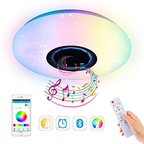 Luces Lámpara Plafón de techo, LTXDJ 60w Lampara Led Bluetooth Techo 185-265V Lámpara de Techo Musica con Altavoz Bluetooth Control Remoto APP(3000-6500K)