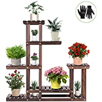 Vivosun Wood Plant Stand with High Low Shelves (6 Wood Shelves 10 Pots)