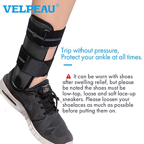 VELPEAU Ankle Brace - Stirrup Ankle Splint - Adjustable Rigid Stabilizer for Sprains, Tendonitis, Post-Op Cast Support and Injury Protection for Women and Men (Foam Pads, Large - Right Foot)