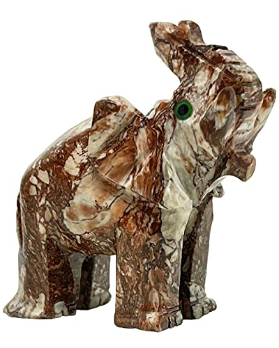 Nelson Creations, LLC Elephant Natural Soapstone Hand-Carved Animal Charm Totem Stone Carving Figurine, 2 Inch