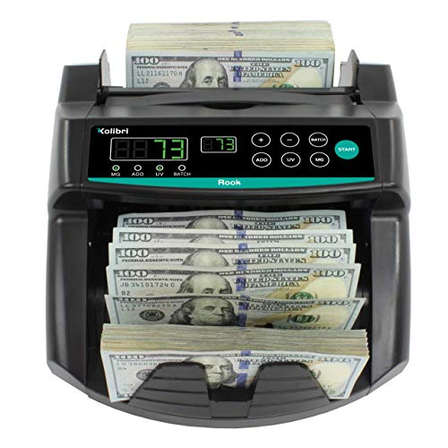 Kolibri Rook Money Counter with UV/MG/IR Counterfeit Detection – Count, Add & Batch Modes, Fast Bill Counter with a Speed of 1,400 Notes Per Minute - US Dollar Cash Counter with Dual LED Display
