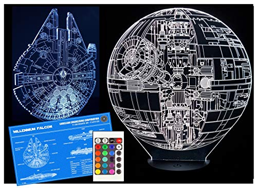 Gift LED Star Wars Light Lamp, Includes Millennium Falcon & Death Star Designs, 16 Colours Touch Switch or Remote Control, Perfect Star Wars Gifts Birthday
