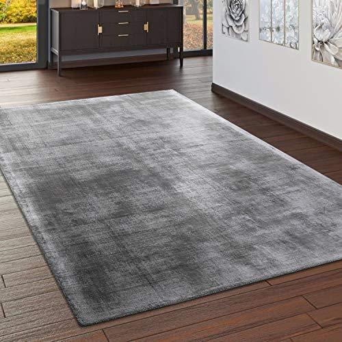 Paco Home Teppich Handgefertigt Hochwertig 100% Viskose Vintage Optisch Meliert In Grau, Grösse:160x230 cm