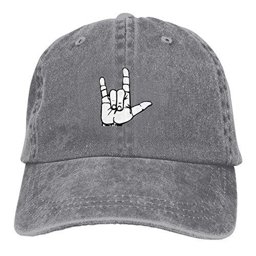 XCNGG I Love You Lenguaje de señas Unisex Sombreros de Vaquero Deporte Sombrero de Mezclilla Gorra de béisbol de Moda Negro