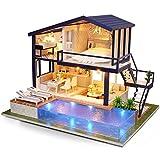 CUTEROOM Kit de Maison de Poupée Miniature en Bois de Bricolage - Appartement de Temps avec la Piscine et la Boîte à Musique de Lumière de LED