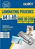 Láminas Plastificadoras A5 y A4 Deskit, acabado brillante, 150 micras, paquete surtido de 130 –...