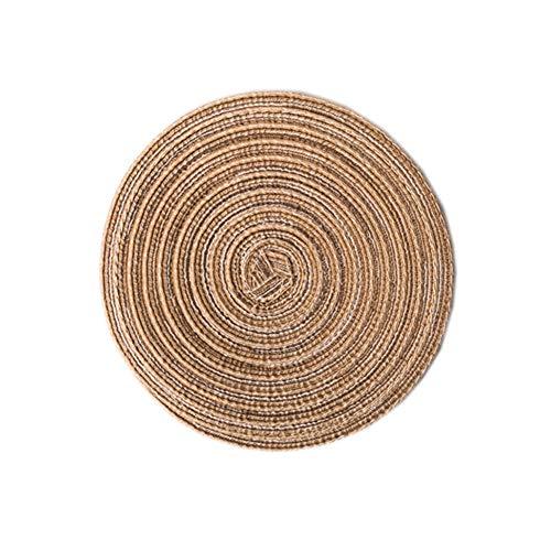 RIsxffp Redondo Salvamantel, Antideslizante,Resistentes al Calor,Anti Escaldado, Alfombrilla de Placemat Manteles para Hogar Coffee Round 36cm