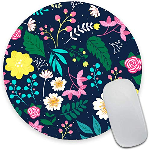 Watercolor Pink Flowers Round Mouse Pad,Gorgeous Pattern Decorative Mouse Mat, Cute Mouse Pad with Design, Non-Slip Rubber Base Mousepad with Stitched Edge, Waterproof Office Mouse Pad, Small Size