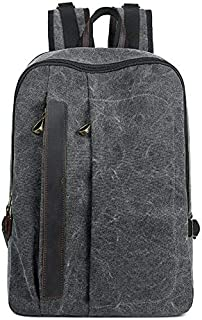 WENQU Laptop Bag Heights Tone Canvas Leather Large Capacity Leisure Travel Backpack Travel Bag Backpack for Men (Color : Black, Size : 30 * 16 * 43cm)