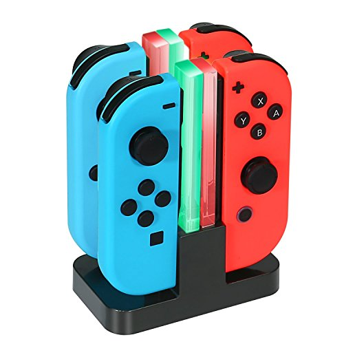 KINGTOP 4 in 1 Ricarica Joy-con per Nintendo Switch, Caricabatterie per Nintendo Switch con Indicatore e Type-C USB Porta, Carica Rapida Switch Nintendo Ricarica Supporto Trasparente