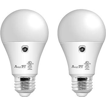 Dusk to Dawn Light Bulb- 2 Pack, AmeriTop A19 LED Sensor Light Bulbs; UL Listed, Automatic On/Off, 800 Lumen, 10W(60 Watt Equivalent), E26 Base, Indoor/Outdoor Lighting Bulb (5000K Daylight)
