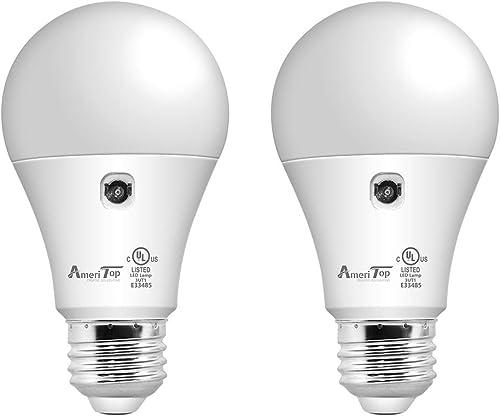Dusk to Dawn Light Bulb- 2 Pack, AmeriTop A19 LED Sensor Light Bulbs; UL Listed, Automatic On/Off, 800 Lumen, 10W(60 ...