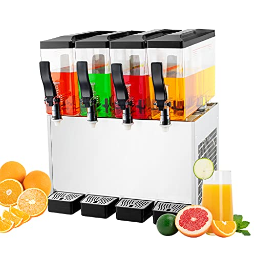 TECSPACE Commercial Cold Beverage Dispenser 4 Tanks 12.7 Gallon Stainless Steel Fruit Juice Beverage Dispensers 325W Ice Tea Drink Dispenser Equipped with Thermostat Controller