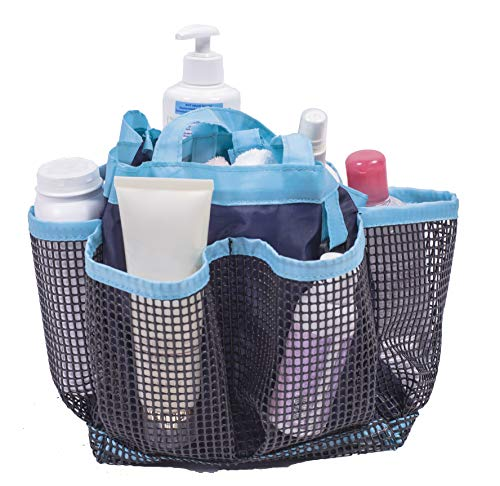 Amelitory Mesh Shower Caddy Portable Quick Dry Shower Tote Bag Hanging Bath Organizers 8 Compartments for Dorm,Bathroom,Gym,Camp,Blue