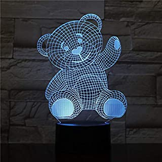 New Mother's Day Gift | 3D Optical Illusion Hologram Night Light Lamp | Led Lampeez for Mom/Lady/Girlfriend/Wife | Premium Present Idea Smiling Teddy | Remote + Free Longer Cord + Free USB Adapter