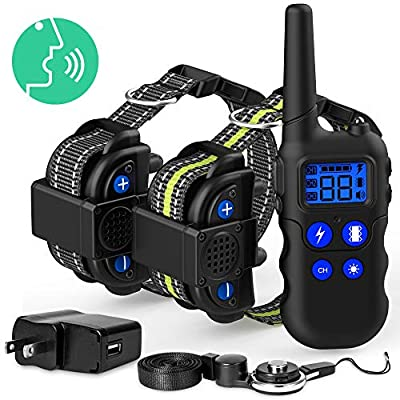 Dog Training Collar, Packism 2020 Upgraded Waterproof Training Collar for Dogs with Walkie-Talkie Function, 4 Training Modes 2600ft Range Dog Training Collar with Remote for 2 Dogs, Removable Contacts