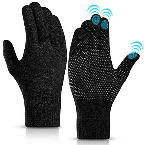 KEZKALS Touchscreen Handschuhe Herren Damen Winter - Weich & Warm Thermo Handschuhe, Geschenke für Frauen Männer, Adventskalender Männer 2020 zum Befüllen (L- 23 * 12cm, Schwarz)