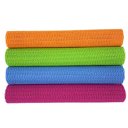 Care4You Antirutschmatte zuschneidbar 4 Stück 4 Farben Set, 30x150 cm, Unterlage Gleitschutz Teppich Unterleger, Besteck Werkzeugunterlage, Kofferraum, orange pink grün blau (Alle 4 Farben)