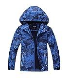 YoungSoul Manteaux Imperméables Garçon Veste Softshell Imprimée Blouson de Pluie Coupe Vent a Capuche Bleu Étiquette XL