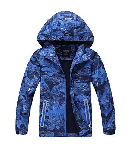 YoungSoul Jungen Gefütterte Regenjacke Gemusterte Übergangsjacke Wasserdicht Winddicht atmungsaktiv Softshelljacke mit Kapuze Blau 122-128