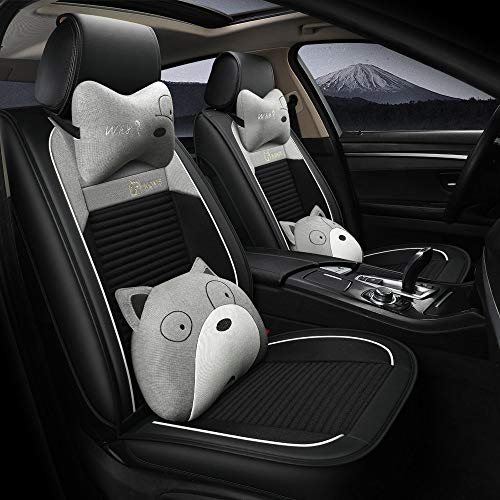 Buy kangsheng Cartoon Car Seat Cover Linen,Front and Rear Seats Universal Car Seat Cartoon Seat Cover Cute Creative Comfortable Seat Back Lumbar Waist Support for Girls (Black Grey,Deluxe Edition)