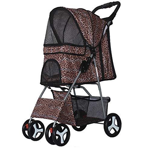 Klappbarer Kinderwagen 4-Rad-Hundejogger-Reiseträger Verstellbarer Baldachin-Aufbewahrungsbremsgitterfenster für Kleine Mittelgroße Hundekatze (Color : A)