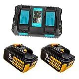 Cargador rápido de repuesto de doble puerto y 2 baterías BL1850 (5000 mAh, 18 V) para batería Makita BL1860, BL1850, BL1845, BL1840, BL1835, BL1830.
