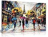Ölgemälde, Motiv Paris auf Leinwand, 61 x 41 cm -