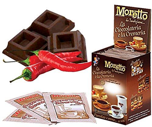 Cioccolata calda in tazza - MORETTO - gusto CIOCCOLATO FONDENTE con PEPERONCINO - 1 scatola con 12 bustine