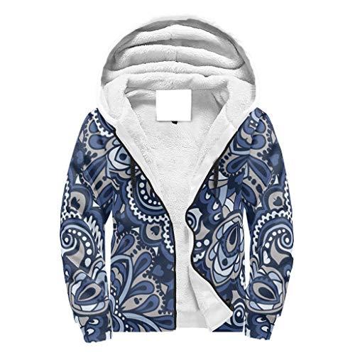 Lind88 Pull polaire unisexe à fermeture éclair super chaud Double couche Teen Bleu géométrique mandela entraînement – Mandela Art lourd confort Automne Tops pour coworker Cadeau XXL blanc