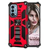 Case for OnePlus Nord N200 5G Case with Kickstand Rugged Magnetic Military Grade Dual Layer Heavy Duty Armor Shockproof Anti-Drop Protective Bumper PC Case Cover for OnePlus Nord N200 5G (Red)