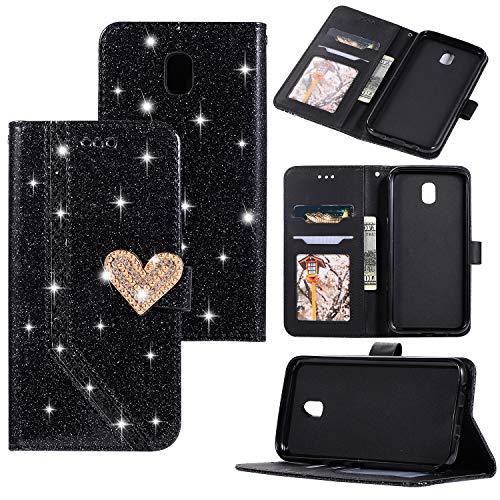 Ostop Hülle für Samsung Galaxy J7 2017/J730,Glänzend Leder Brieftasche Handyhülle,Kristall Kartenfach Stand Klapphülle 3D Diamant Perle Herz Muster Magnetverschluss Schutzhülle,Schwarz Glitzer