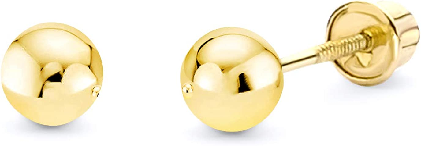 14k REAL Yellow Gold Ball Stud Earrings with Screw Back - 5 Different Size Available
