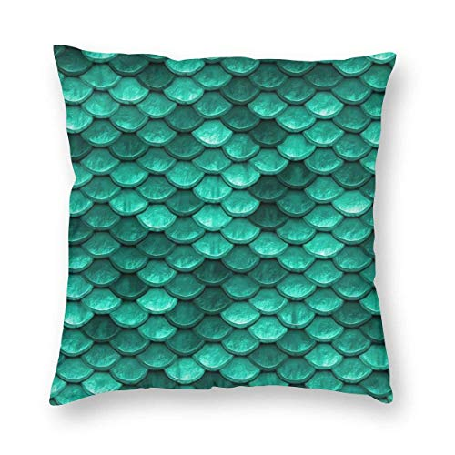Ahdyr Soft and Cozy Pillow Covers with Hidden Zipper, Emerald Turquoise Green Mermaid Fish Scales Decorative Square Pillowcase Throw Cushion Case for Sofa, Couch and Bed, 18'x 18'