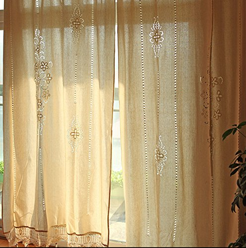 "DOKOT Victorian Vintage Long Solid Embroidery Rod Pocket Window Curtains/Drape/Panels/Treatment Cotton Linen with Crochet Border, 71x71 inches (71"" Wx71 H(180x180cm), Khaki Embroidery)"