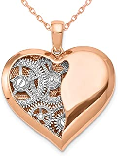 14K Rose Pink Gold Polished Gears Inside Heart Pendant Necklace with Chain