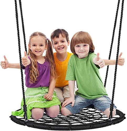 Children's Spider Web Round Swing, Adjustable PE Strap, 40In Outdoor Hanging Tree Children's Play Seat
