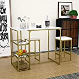 Amolife Modern 3-Piece Counter Dining Pub Kitchen Bar Table Set with 2 Compact Bar Stools, Metal Frame, Shelf Storage, Brass Pub Set with Faux Marble Top, Gold and White