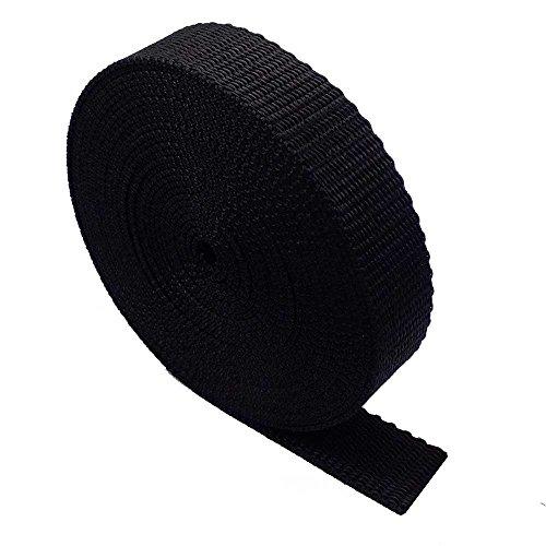 Ruban de Sangle à Usage intensif - 5 mètres - Sac à Dos, Bagages, Sangles de Cargaison, Ceintures (Noir, 20mm)