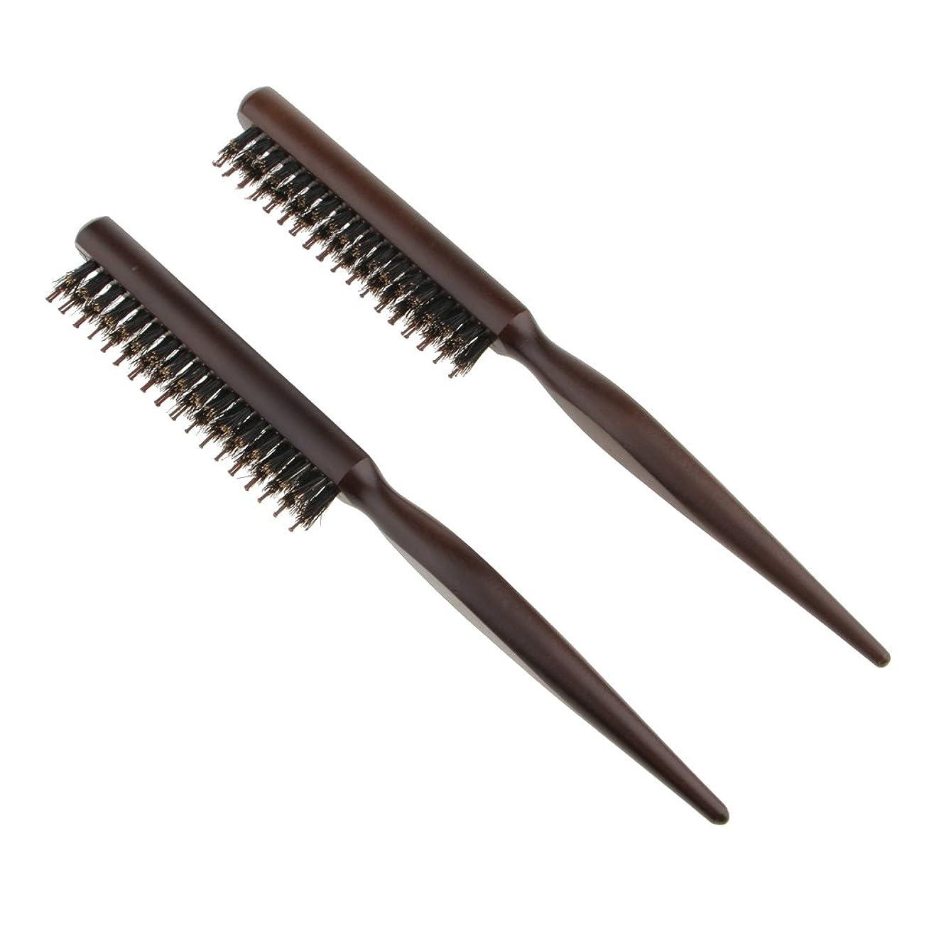 レイ麦芽適応的Toygogo ヘアセクショニング、エッジコントロール、バックコーミング用の木製ラットテールピック付きヘアブラシコームをからかう自然な毛