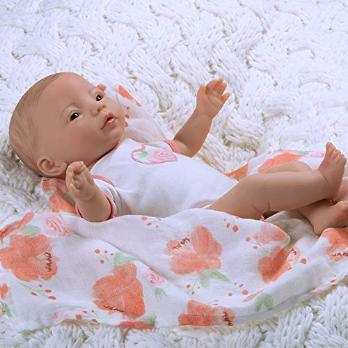 Paradise Galleries Preemie Real Baby Doll That Looks Real Swaddlers Peach Blossom, 16 inch Weighted Reborn Girl, GentleTouch Vinyl, 4-Piece Gift Set