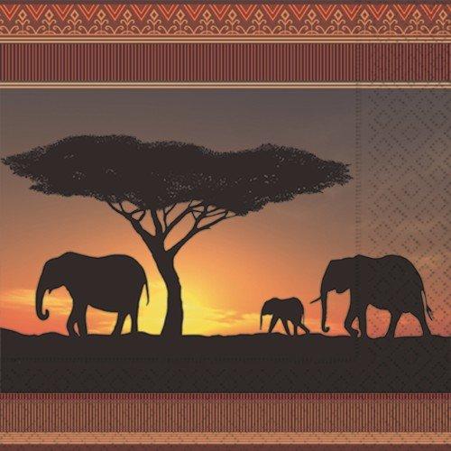 20 Servietten Serengeti/Tiere/Afrika/Elefanten 33x33cm