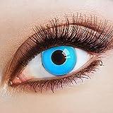 aricona Kontaktlinsen - Neon blaue Kontaktlinsen ohne Stärke - Farbige Kontaktlinsen leuchtend blau für Karneval, Fasching, Cosplay, 2 Stück