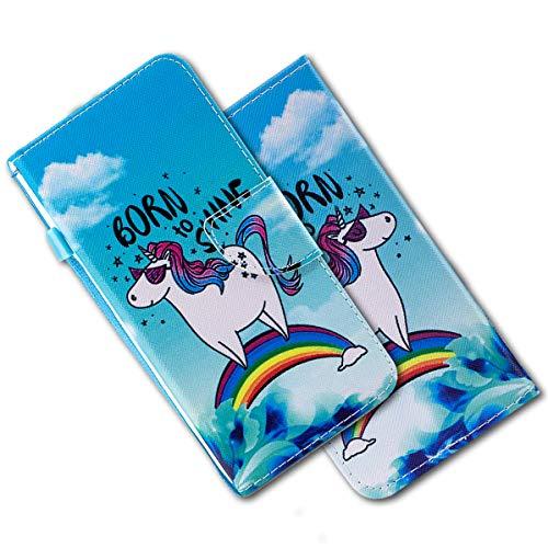 MRSTER iPod Touch 5 Funda, iPod Touch 7 Cover, Ultra Slim Carcasa Protección de PU Cuero Funda con Stand Función para Apple iPod Touch 5th / 6th / 7th. HX Rainbow Unicorn