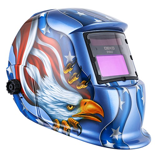 DEKOPRO Welding Helmet Solar Powered Auto Darkening Hood with Adjustable Shade Range 4/9-13 for Mig Tig Arc Welder Mask (Blue Eagle)