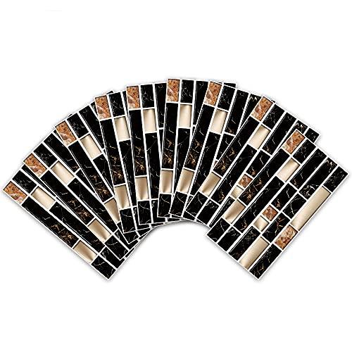 azulejos adhesivos cocina,9 piezas de adhesivos de azulejos antiincrustantes y resistentes a los arañazos, adhesivos de pared de metal negro, adhesivos de azulejos impermeables reacondicionados