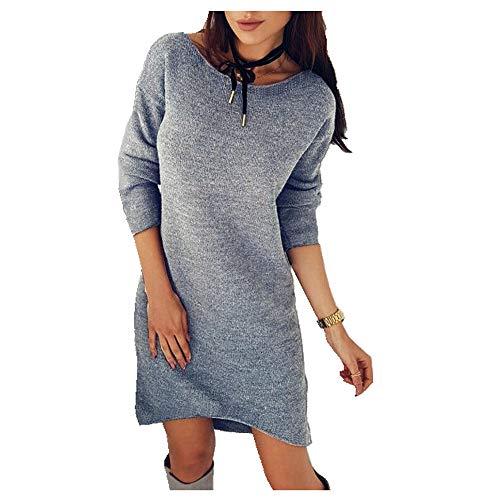 N\P La primavera y el otoño comprender el color sólido cuello redondo manga larga suéter vestido largo base capa