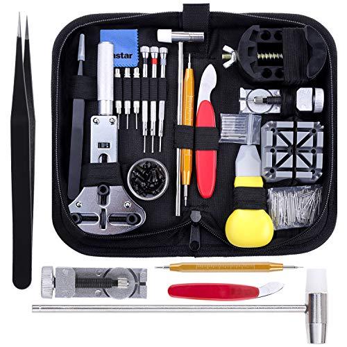 Vastar 151 Stück Uhrenwerkzeug, Uhren Batteriewechsel Set zum Ersetzen der Batteriedes Dichtungsstreifensdes Einstellbandesdes Ersatzbandesder Uhrenreinigung und der Wartung des Uhrwerks